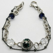 925 STERLING SILVER DOUBLE BRACELET WITH GREEN WORKED LANTERN, BURNISHED CHAIN image 1
