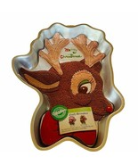 Wilton Cake Pan Metal Figure 1985 Rudolph Red Nosed Reindeer Christmas R... - $39.55