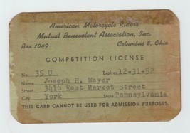 1951 AMERICAN MOTORCYCLE RIDERS MUTUAL BENEVOLENT ASSOC COMPETITION LICENSE - $27.71