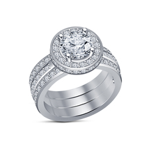 Round Cut Sim Diamond Engagement Ring Wedding Bands Set 14k White GP 925 Silver - $135.95