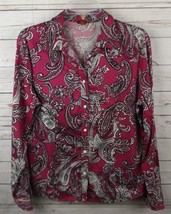 Talbots Shirt Top Size 14 Berry Paisley Stretch Cotton Sateen - $14.24