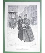 LADIES Christmas Shopping in Big City - VICTORIAN Original Engraving - $13.17