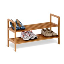 Shoe Storage Organizer, Bamboo Two-tiered Womens Entryway Organizer Shoe... - $64.51 CAD