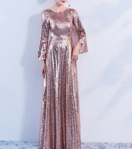 Long Sleeve Rose-Gold Maxi Sequin Dress Women Maxi Sequined Evening Wedding Gown image 4