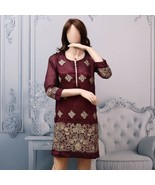 Burgundy Pakistani Masoori Kurta Embroidery, Fancy Thread work medium - $39.60