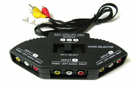 3-Way Audio Video AV RCA Black Switch Selector Box Splitter with/3 RCA Cable - $10.02