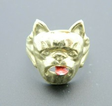 Vintage Gold Tone Dog Ring With Articulating Tongue Size 7.5 Adjustable - $49.49