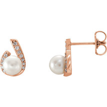 Freshwater Pearl & 1/10 CTW Diamond Earrings In 14K Rose Gold - $341.55