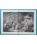 RUSSIA Czar Ivan III Rejects Great Khan Emissaries - 1880s Wood Engravin... - $25.20