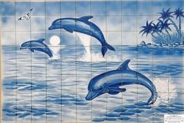 DOLPHINS Ceramic Tile Mural Backsplash Indoor Outdoor Tiles Kiln Fired W... - $2,846.25
