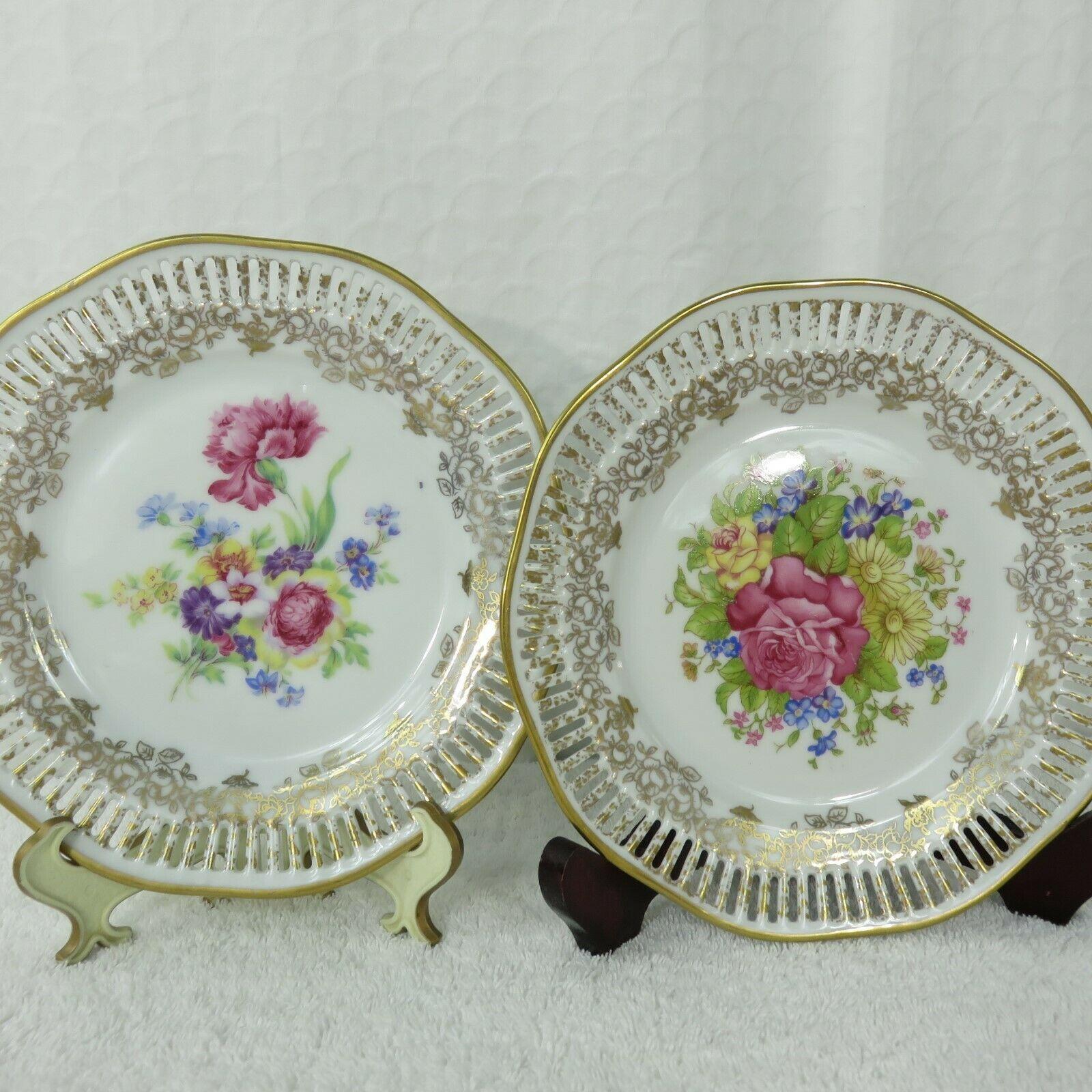 2 Vintage Winterling Bavaria China Germany Salad Plates Floral Gold Pierced Edge - $89.05