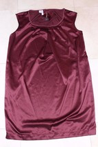 W10518 Womens OLD NAVY Maroon Red Satin Shift DRESS Xmas Holiday SMALL - $15.45