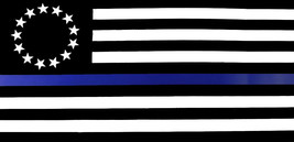 Lot of 6 Betsy Ross Historical Thin Blue Line Police Vinyl Decal Bumper Sticker - $13.88