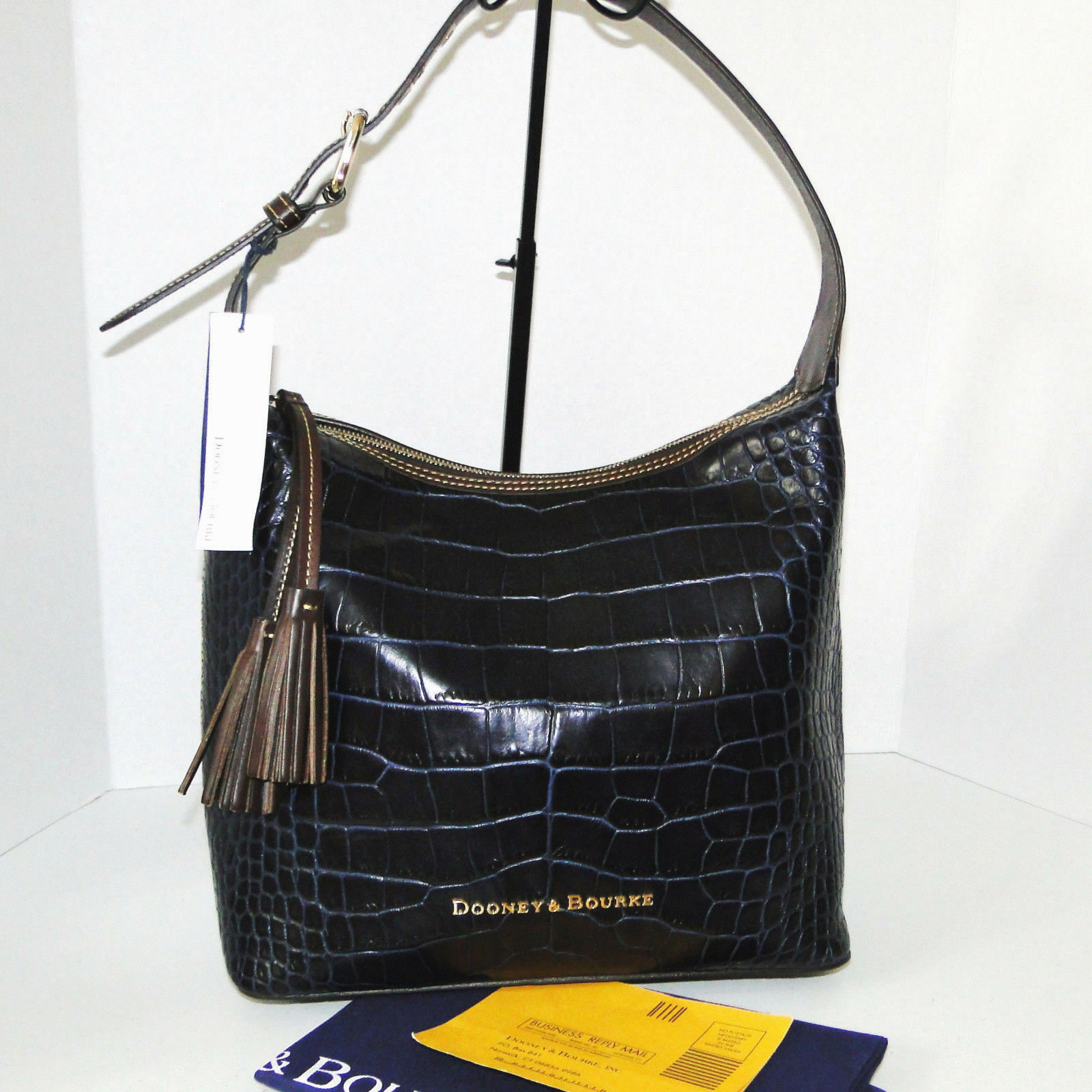 Dooney & Bourke Paige Sac Leather Croco Emb Hobo Blue