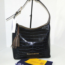 Dooney & Bourke Paige Sac Leather Croco Emb Hobo Blue image 1