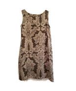 Gap Girls 12 XL Dress Sleeveless Brown and Peach Print Pockets Lined X9MP - $11.49