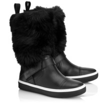Jimmy Choo Bury Flat Black Leather with Fur Winter Boots Sneakers Shoes 37 - $895.00