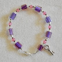 Beautiful Cane Glass Bead Bracelet, Purple and Pink Bracelet, Colorful B... - $20.00