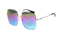 Gucci Logo GG0414S 004 Gold Metall Sonnenbrille Regenbogen Spiegel Tiger... - $282.23