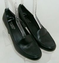 Franco Sarto 'Nation' black leather round toe slip on loafer stacked heels 8M image 7