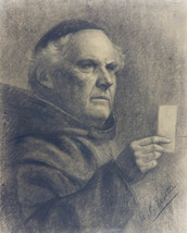 20th Century Charcoal Drawing - Study of a Holy Man - $123.90