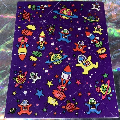 Lisa Frank 90s Complete Sticker Sheet S122 Astronauts Rocket Planets Far Out