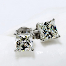 Princess Cut Stud Sterling Silver 925 Solid Square Gift Earrings - $43.53