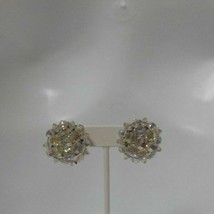 Vintage Aurora Borealis Round Wired Cluster Clip-On Earrings - $24.74