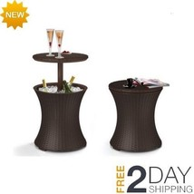 7.5-Gal Cool Bar Rattan Style Outdoor Patio Pool Cooler Table, Brown Liq... - €67,99 EUR