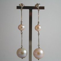 White Gold Earrings 750 18K Hanging, With White Pearls And Pink - $752.96