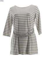 Liz Claiborne NY Striped Tunic Knotted Waist Belt Heather Grey XL NEW A261243 - $26.71