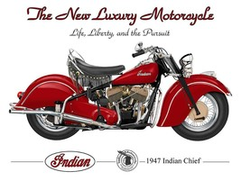 1947 Indian Chief the New Luxury Motorcycle Terry Pastor Art Metal Sign - $29.95