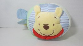 Disney Winnie the Pooh plush chime rattle soft activity ball baby toy sq... - $8.90