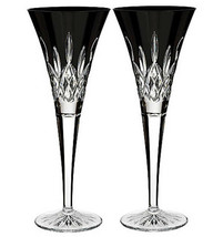 "Waterford Lismore Black Crystal Toasting Flute Pair 9.25""H #40021870 New... - $224.90"