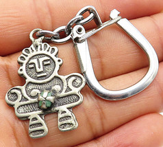 SOUTH WESTERN 925 Silver - Vintage Antique Emerald Young Boy Key Chain - T1245 - $51.66