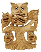 handmade undercut wooden Owl family on tree wood owl home Decor - $223.55
