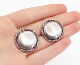925 Sterling Silver - Vintage Rope Twist Border Button Drop Earrings - E... - $32.16