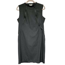Calvin Klein Womens Dark Gray Sleeveless Crew Neck Zip Short Sheath Dres... - $17.82
