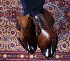 Handmade Men's Brown Leather Lace Up Dress/Formal Oxford Shoes image 4