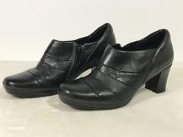 Clarks Artisan Active Air Black Leather Zip Side Pumps Women's Size 10M - $37.39