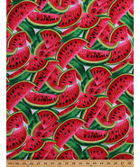 Cotton Watermelon Slices Fruit Food Kitchen Red Cotton Fabric Print BTY ... - $12.95