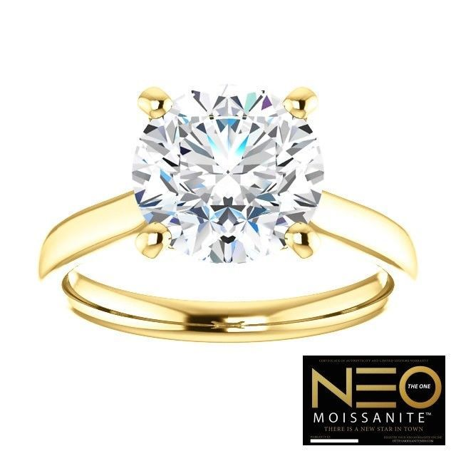 3.00 Carat (9mm) NEO Moissanite Solitaire Ring in 14K Gold (with NEO warranty)
