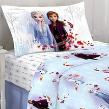 Disney Frozen 2 Elsa Anna Twin Sheet Flat Fitted Pillowcase 3 Piece Shee... - $59.95
