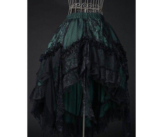 Goth Victorian Steampunk Green Black Lace Knee Length Asymmetrical Ruffle Skirt
