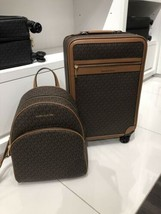 Michael Kors Travel Trolley Suitcase & Large Abbey Backpack Brown New Co... - $475.20
