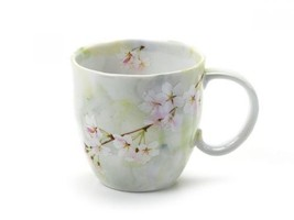 Mug cup Mino yaki ware coffee tea soup cup Green Sakura made in japan - $29.53