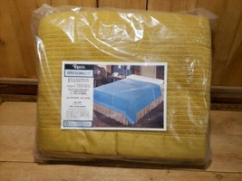Vintage SpringCrest 50/50 Poly Rayon Napped Thermal Blanket 72x90 Mustar... - $78.41