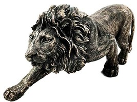 The King of The Jungle Bronzed Aslan Lion Figurine Battle Attacking Stan... - $29.67