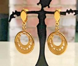 Crown Trifari Textured Gold Tone Dangle Hoop Pierced Earrings  - $9.89
