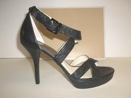 Michael Kors Size 7 M Evie Platform Black Leather Sandals New Womens Shoes - $107.91